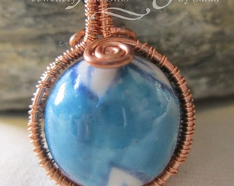 Blue porcelain bead necklace