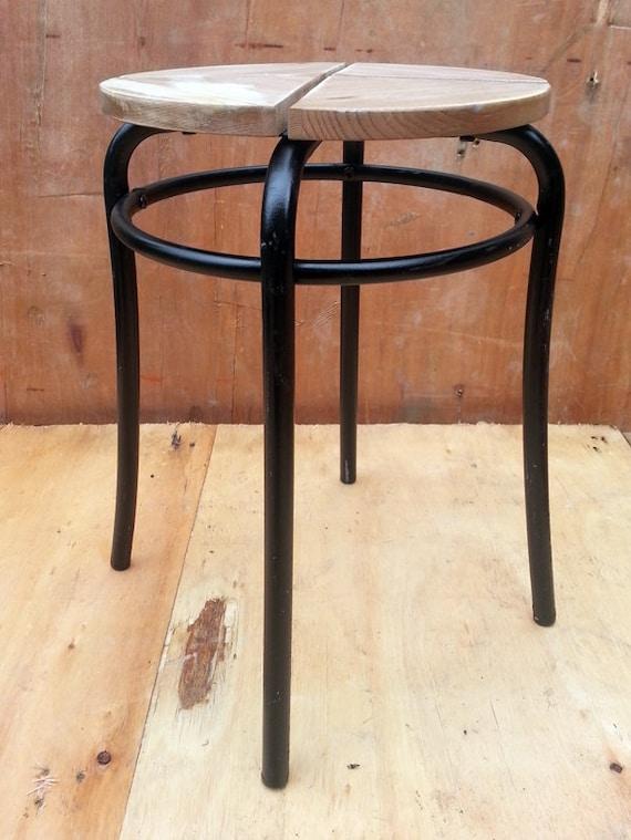 Upcycled metal black rustic wood stool bedside table side for Wood and metal bedside table