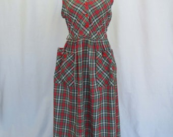 Vintage 1950s Ricki Reed plaid day dress EUC