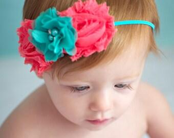 Newborn Headband-Baby Girl Headband-Baby Headband-Baby-Baby Girl-Coral Headband-Baby Headbands-Infant Headband-Headband