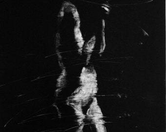Haunting Figure Monotype Print, Descent III
