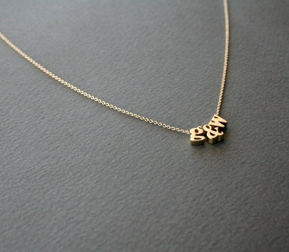 Gold initial necklace 3 lowercase letter by studiogoods on for Lowercase letter necklace
