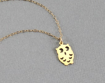 Owl Necklace, Owl Jewelry, Barn Owl Necklace,  Dainty Owl Charm Necklace, Gold Owl Necklace, Birthday Bridesmaids Gift Idea, Gold or Silver