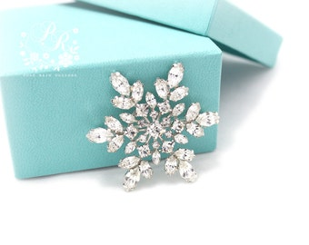 Wedding Brooch Rhinestone Snowflake Brooch adornment, Sash Applique, Buckle, Hair comb, Clutch Bridal Jewelry Christmas Brooch Jewelry