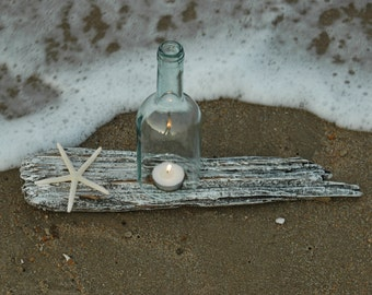 Sea Glass Wine Bottle Hurricane Lantern on Weathered White Driftwood with Starfish
