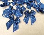 20 Blue Polka Dot Ribbon Bows (30mm) - Perfect for sewing, DIY invitations, card making & scrapbooking