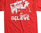 Funny Christmas Shirt Santa I Want To Believe T-shirt Reindeer Sleigh Santa Claus  Christmas Sweater Party Holiday T Shirt Mens Womens