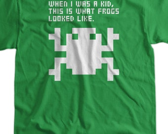 Retro Arcade Video Game Frog Pixel Frog Tshirt T-Shirt Tee Shirt Mens Womens Ladies Youth Kids Geek Funny