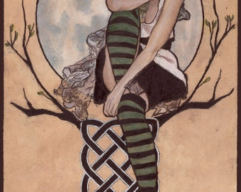 Green Fae's Dream - print of an original painting by Tuulia Tamminen - Size A3