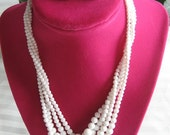 Vintage Elegant Marked Japan MILK GLASS BEADS Choker Length Necklace - 4 Strands & White Signed Dalsheim Clip on Faceted Lucite Earrings --