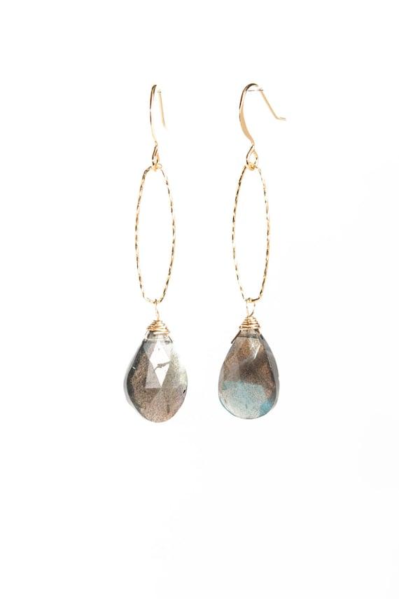 Labradorite Gold Hoop Dangle Earrings
