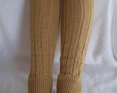 Socks-Boot socks-boot-leg warmers- knit lace trim and button-Mustard-