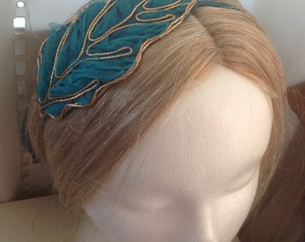 20% OFF Sale - Tulle Mesh Leaf Metal Headband in Golden Peach or Golden Green