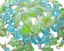 Springtime Bead Charms - Blue Green Turquoise - Mix of Wire-wrapped beads - Set 07B