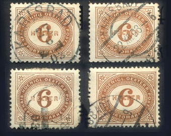 Ten 1900's Postage Stamps - Austria - Collage, Mixed Media, Artist Trading Cards, Jewellery