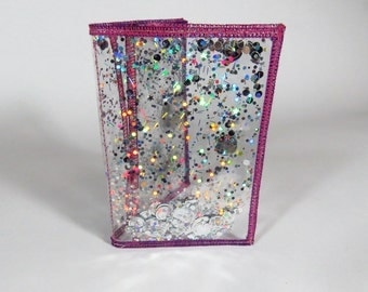 Holographic Wallet Business Card Holder Silver Glitter Wallet ID Case in Galaxy