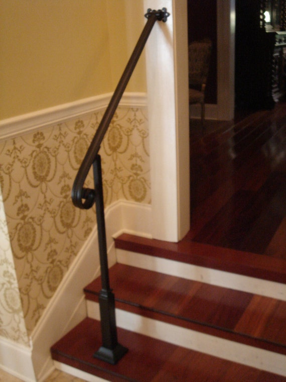 4 Ft Wrought Iron Handrail Stair Step Railing With Wall Post