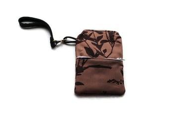 Wristlet Purse Bag Zippers Brown Phone Case Camera Case Wallet