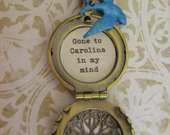 Bluebird Locket quote necklace Gone to Carolina in my mind carolina girl blue jay bronze ships quickly from USA