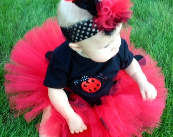 3 Piece Lady Bug or Bumblebee Tutu Costume, Tutu and Matching Shirt.  Infant Ladybug Costume, Toddler Ladybug Costume