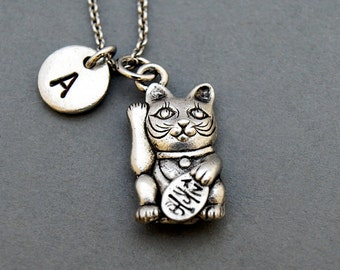 Maneki neko cat Necklace, Lucky cat of Japan Necklace, antique silver, initial necklace, personalized, monogram