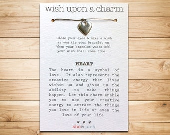 HEART - Wish Bracelet - Large Silver Charm - Hemp Cord - Choose Your Own Color