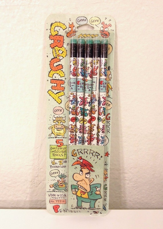Grouchy Pencils Unopened Pack of 5 '92
