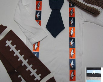 DENVER BRONCOS inspired football outfit for baby boy - tie bodysuit with suspenders, crochet hat, leg warmers