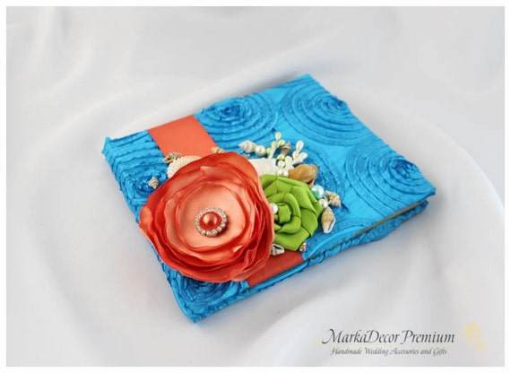 READY TO SHIP Wedding Lace Guest Book Custom Bridal Flower Brooch Guest Books in Turquoise Blue, Coral, Lime Green and Ivory