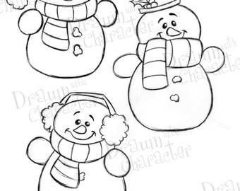 Simple Snowmen Digital Line Art/ KopyKake Image