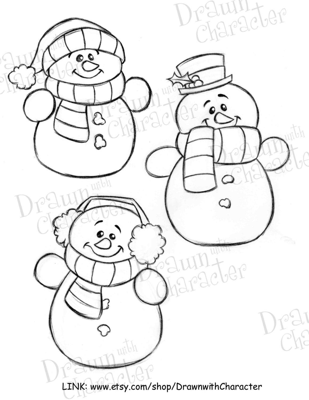 Digital Line Art : Simple snowmen digital line art kopykake image