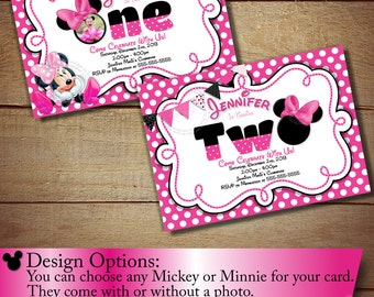 Minnie Mouse First Birthday Invitation, Minnie Mouse Second Birthday Invitation, Pink Polka Dot Invitation, DIY, Light Pink, Pink