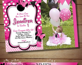 HUGE SELECTION Minnie Mouse Birthday Invitation, Pink Minnie Mouse Invitations, Printable Invitation, Minnie Photo Invitation, 1st 2nd 3rd
