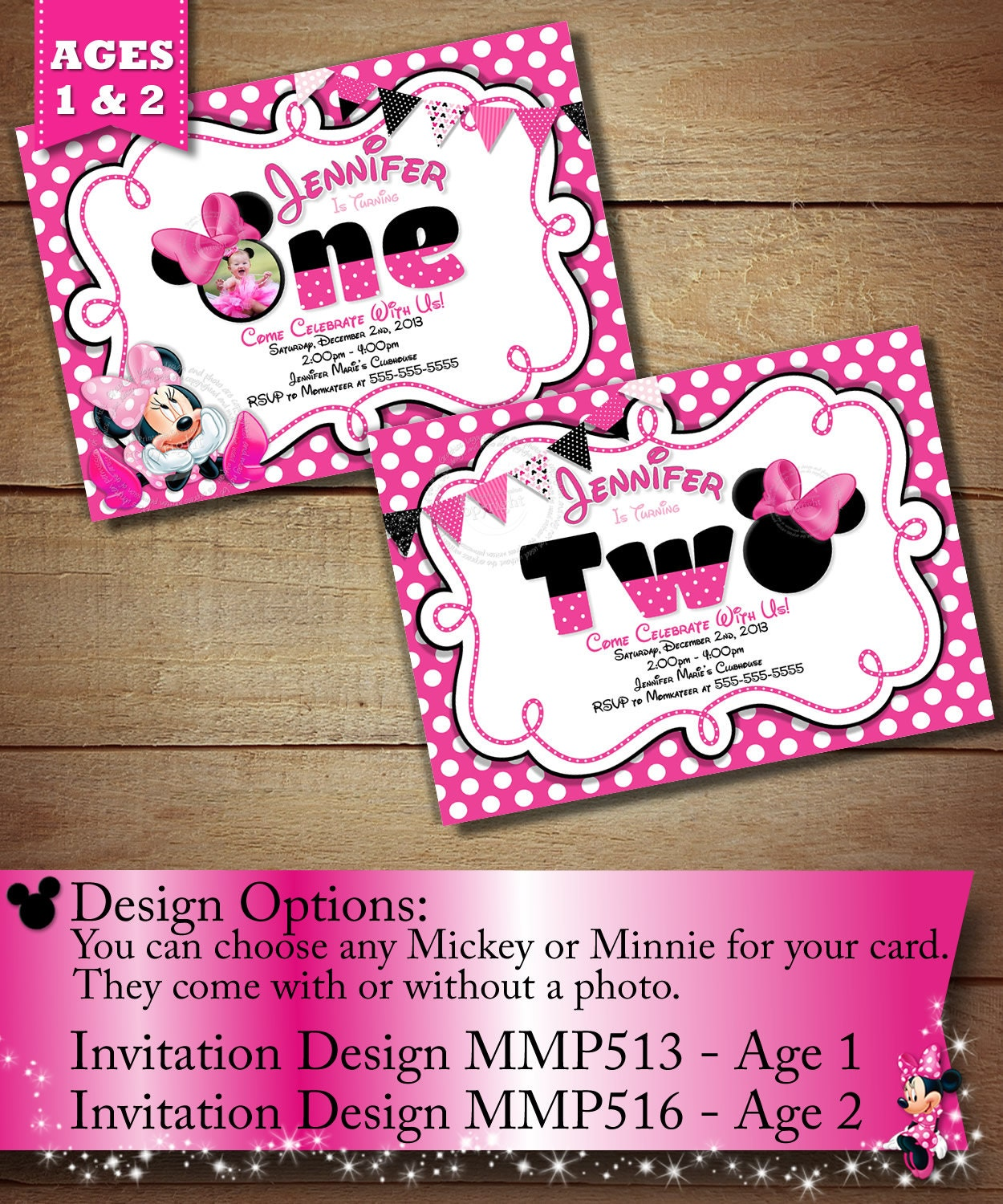 Minnie Mouse First Birthday Invitation Minnie Mouse Second