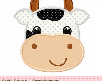 Cow Farm animal Machine Embroidery Applique Design - 4x4 5x5 6x6 inch