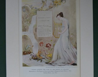 1947 Vintage Print Of William Blake's Illustration Of The Nymph Striking The Lyre At The Springs Of Helicon - Progress Of Poesy - Romantic