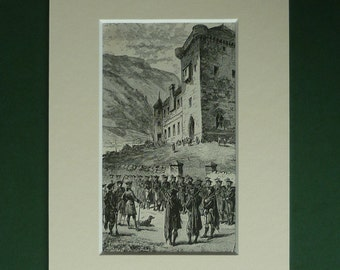 1883 Antique Print From Walter Scott's Waverley - Jacobite Print - Scottish Castle Print - Scotland Art Print - Scottish Highland Clansmen