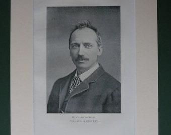 1900 Antique Print Of William Clark Russell - Black & White Portrait - English Literature - Antique Photograph - Merchant Navy - Nautical