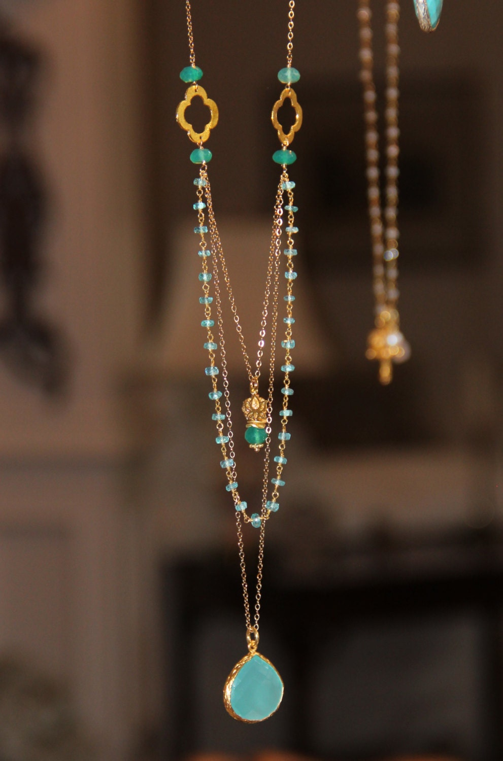 Long Multi Layer Necklace Wire Wrapped Apatite W Pantone