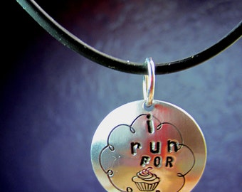 I Run for Cupcakes hand stamped necklace