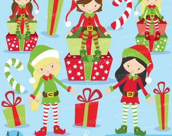 80% 0FF SALE Christmas Elves clipart commercial use, vector graphics, digital clip art, digital images  - CL598