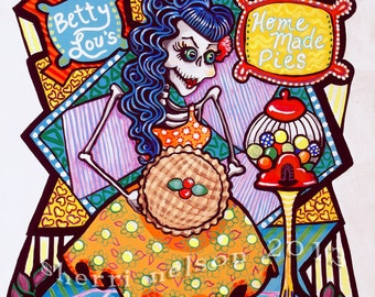 Betty Lou's Pies Day of the Dead Art by Bones Nelson. Kitchen Catrina. Rockabilly Cafe
