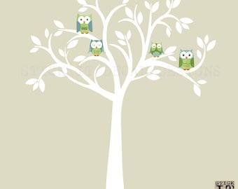 Owl decal, Owl tree wall sticker, Blue Owl Decals, owl wall decal, nursery owl decor, Beach Design with White Tree