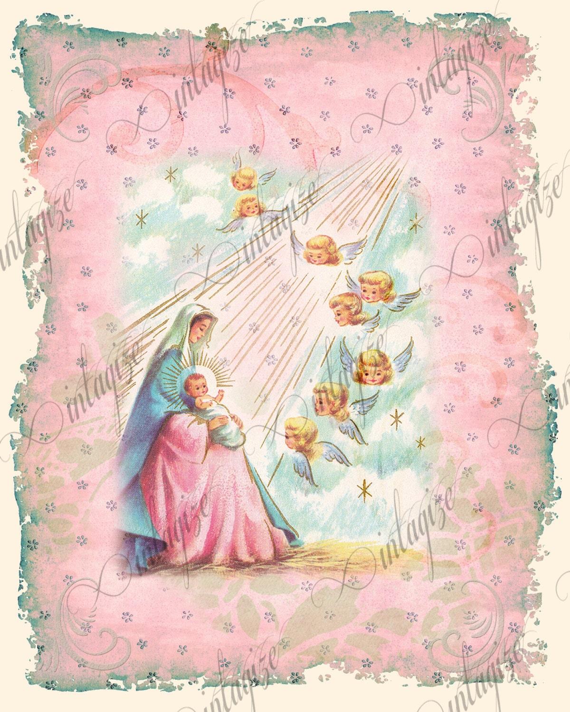 Christmas Card Printable Religious Shabby Chic Vintage
