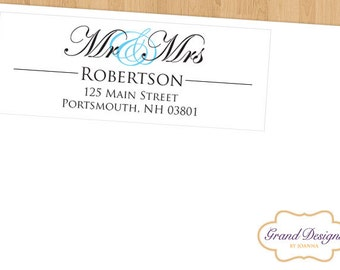 Personalized Return Address Labels - New Mr and Mrs (Set of 60)