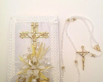 Biblia y Rosario, Bible and Rosary Set, Catholic bible, Gold bible set, Gold wedding bible, catholic gold bible