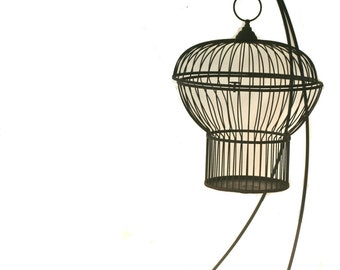 Rare Vintage Black Rustic Cast Iron Hanging Bird Cage with Stand Farmhouse Cottage Chic Shabby Chic