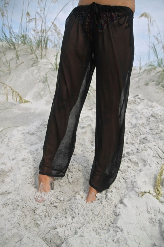 Black Sheer Transparent Beach Coverup Pants by SoloSol on Etsy