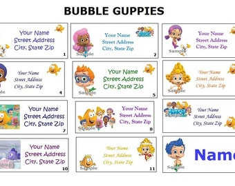 CUTE Bubble Guppies Return Address, Party & Name Sticker Labels