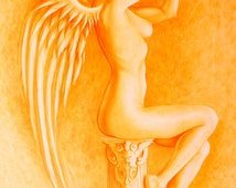 Sexy Nude Angel Woman - art print